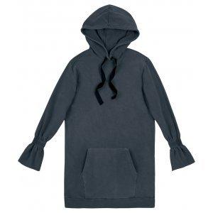 Vestido Maxi Blusão Em Moletom Com Punhos Ajustados