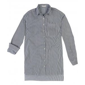 Camisa Alongada Listrada Em Tecido De Algodão