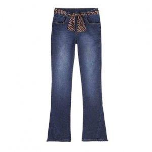 Calça Jeans Bootcut Feminina Com Cinto Estampado E Barra Desfiada