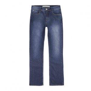 Calça Jeans Regular Feminina Em Algodão Com Lavação Clara
