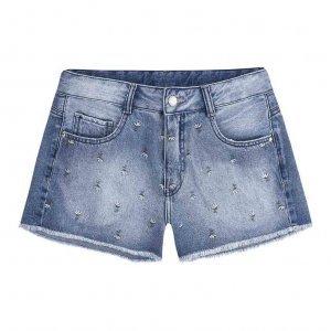 Shorts Jeans Feminino Em Algodão Com Estampa Bordada