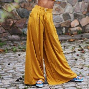 Calça Pantalona Ampla Tamanho: P - Cor: Amarelo