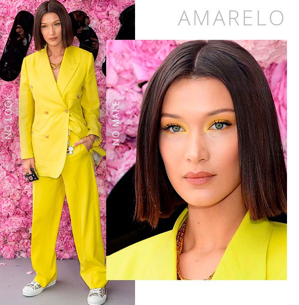 bella hadid - amarelo - make - roupa - look