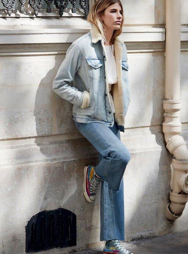 it-girl - blusa-branca-jaqueta-jeans-shearling-calça-jeans - jaqueta-jeans-shearling - inverno - street style