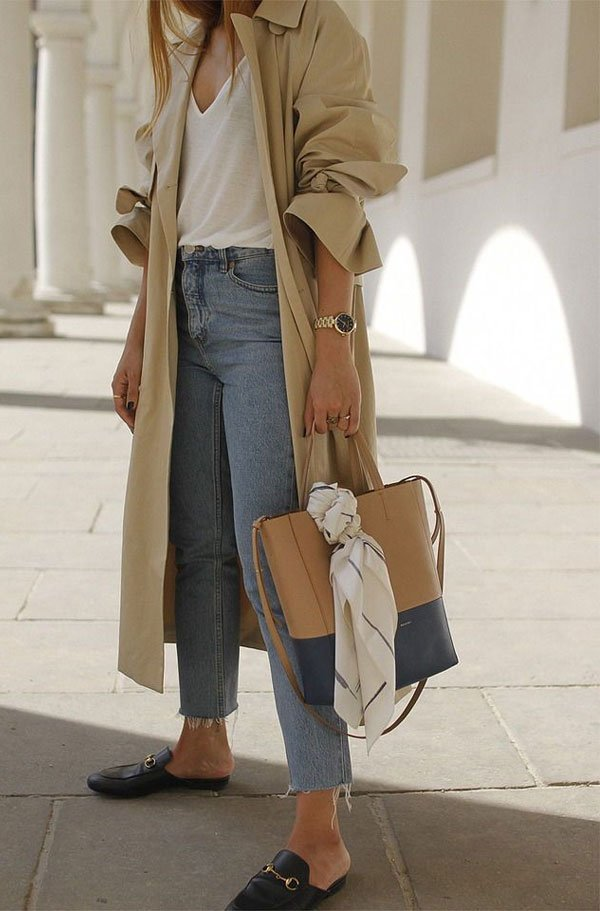 it-girl - blusa-branca-calça-jeans-trench-coat-mule - mule - inverno - street style