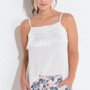 Blusa Branco Com Franjas Frontais Quintess