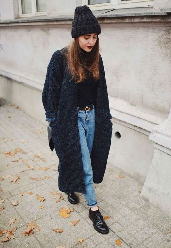 it-girl - blusa-preta-cardigan-mom-jeans - mom-jeans - inverno - street style