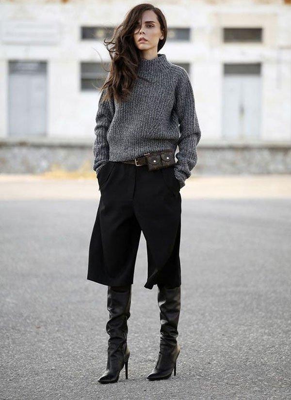 it girl - calca-preta-bota-preta-tricot-cinza - calça - inverno - street style