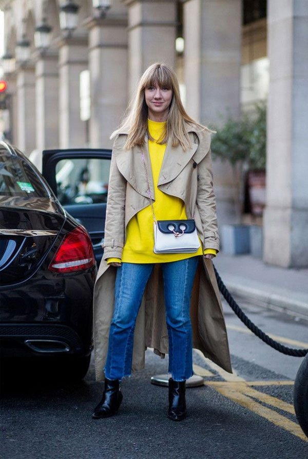 it girl - calca-jeans-trench-coat-tricot-amarelo - calça jeans - inverno - street style