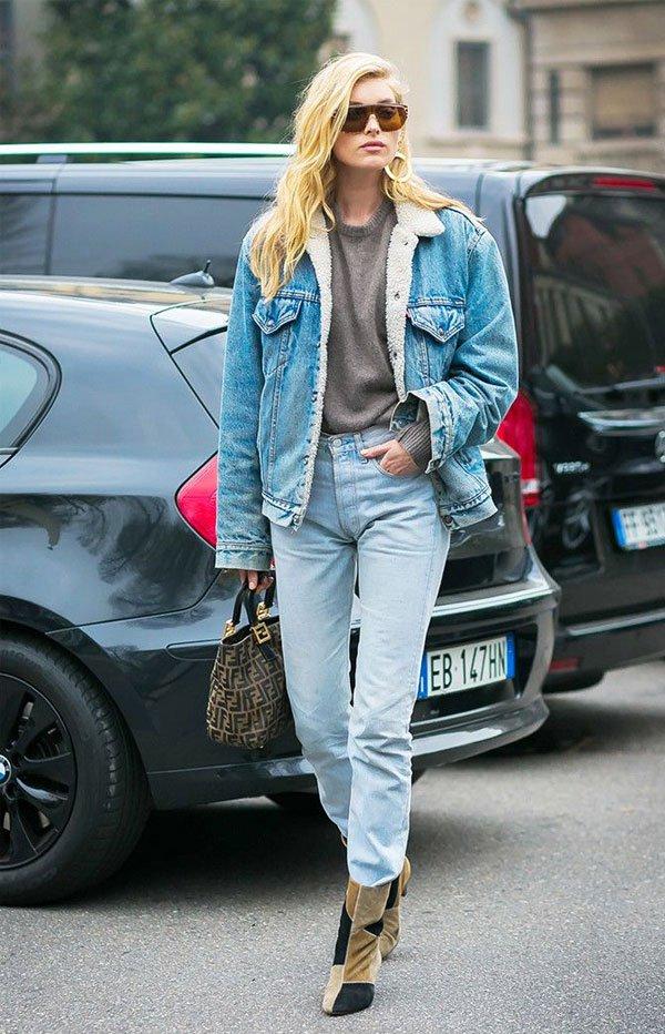 Elsa Hosk - tricot-cinza-jaqueta-jeans-shearling-calça-jeans - jaqueta-jeans-shearling - inverno - street style