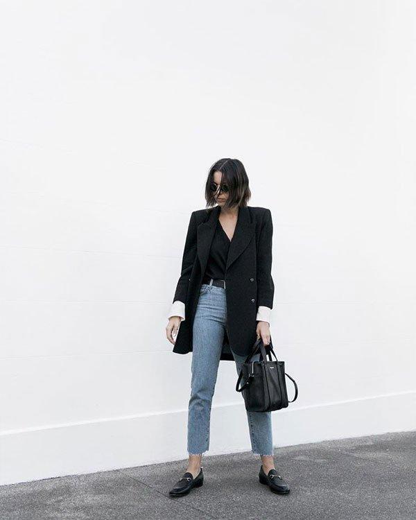 Kaitlyn Ham - blazer-preto-blusa-preta-calça-jeans-mocassim - mocassim - inverno - street style