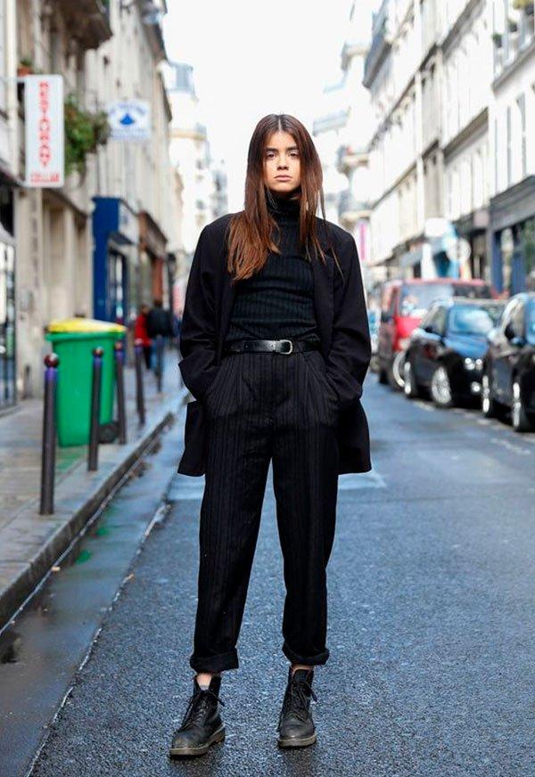 look - all black - street style - copiar - moda