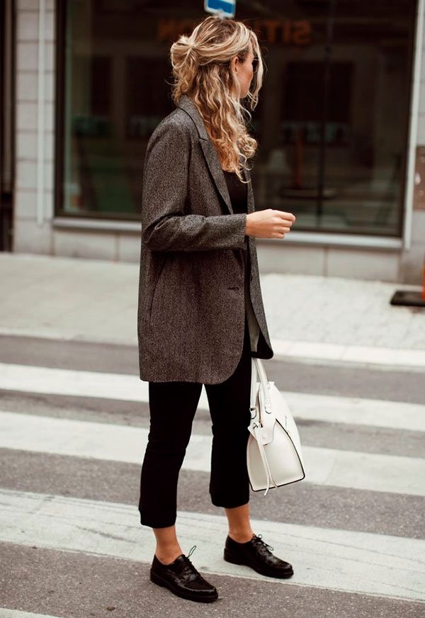 blazer - xadrez - oxford - look - preto