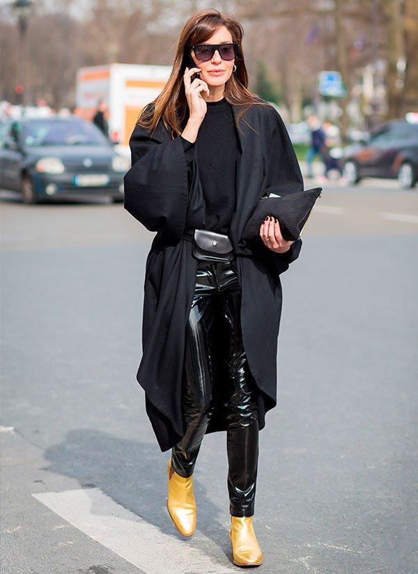look - street style - calça - couro - trend
