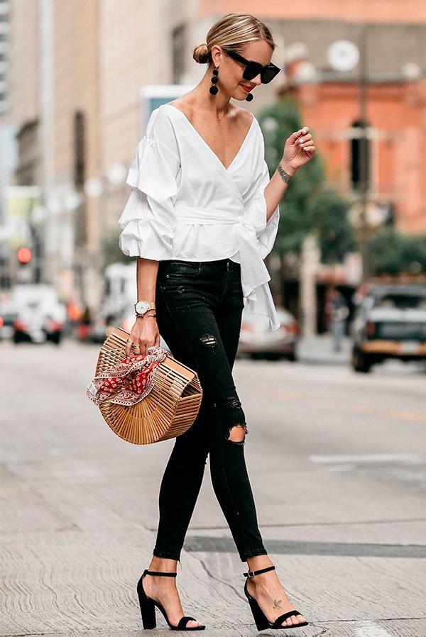 preto - branco - look - office - moda