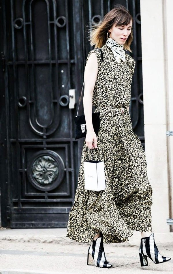 it-girl - maxi-vestido-estampa-lenço-bota - maxi-vestido - meia estação - street style