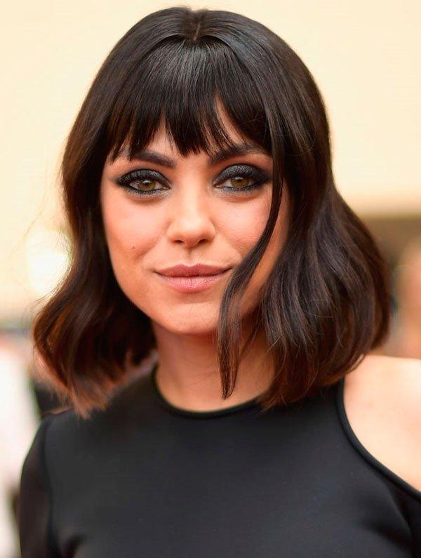 Mila Kunis - mila-kunis-cabelo-fios-castanho-corte-franja - cabelo castanho - inverno - red carpet
