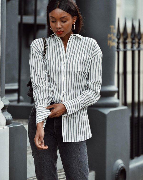 Natasha Ndlovu - camisa-listrada-calça-jeans - listras - inverno - street style