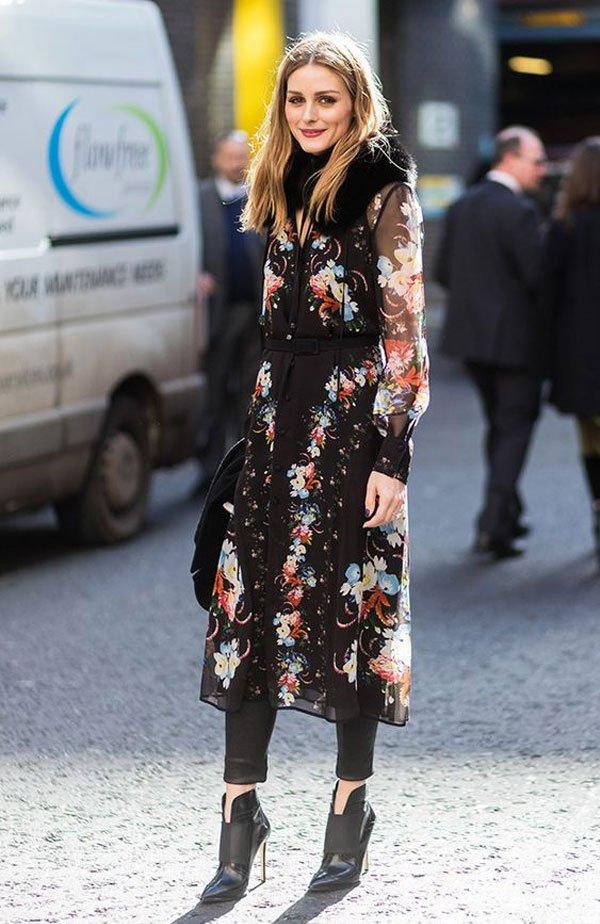 Olivia Palermo - vestido-florido-calça-bota - vestido - inverno - street style