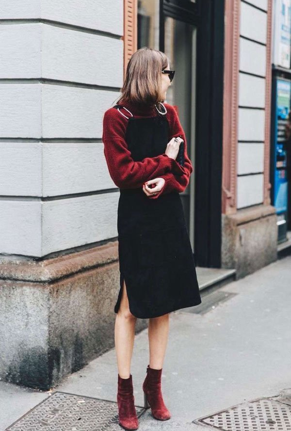 it-girl - sueter-vermelho-vestido-bota - vestido - inverno - street style