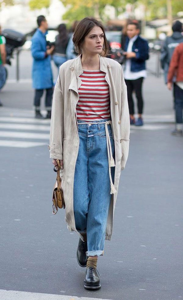 it girl - trench-coat-calca-jeans-oxford-meia - calça jeans - inverno - street style