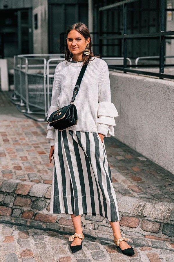 it-girl - vestido-listrado-tricot-sapatilha - listras - inverno - street style