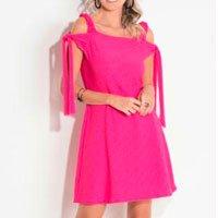 Vestido Quintess Pink Com Amarração Nas Mangas
