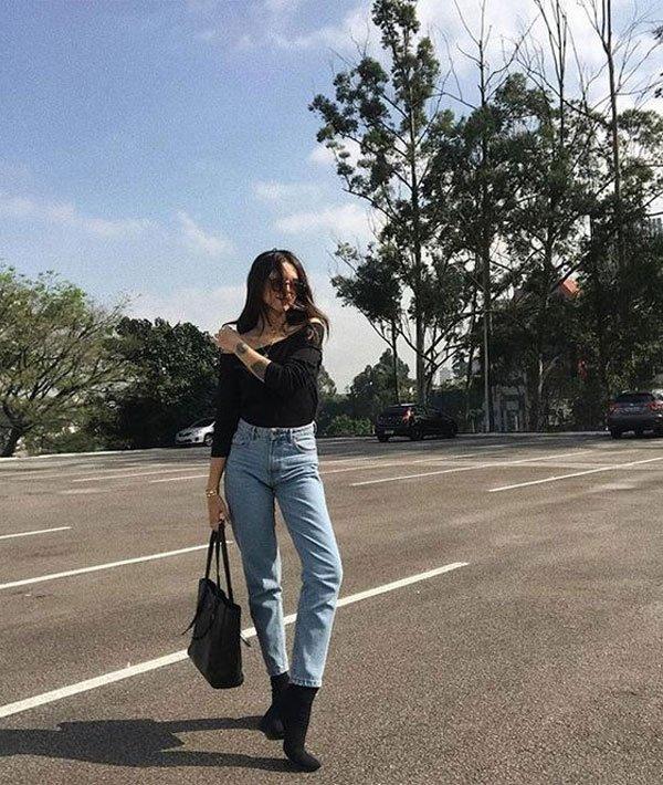 Vic Hollo - blusa-preta-mom-jeans - mom-jeans - meia estação - street style