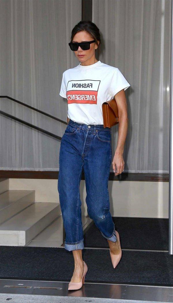 Victoria Beckham - t-shirt-mom-jeans - mom-jeans - verão - street style