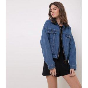 Jaqueta Jeans com Gola em Animal Print