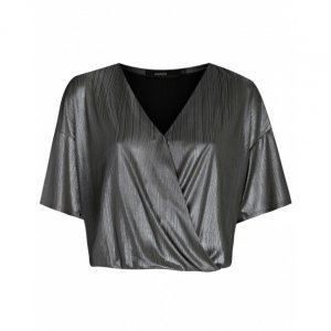Blusa Curta De Malha Foil