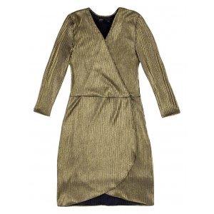 Vestido Transpassado Em Malha Metalizada