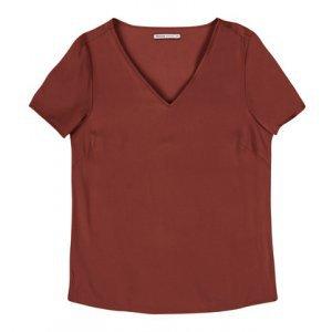 Blusa Feminina Básica Em Viscose Creponada Com Gola V