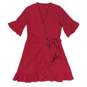 Vestido Em Tecido De Viscose Com Linho E Amarração Frontal