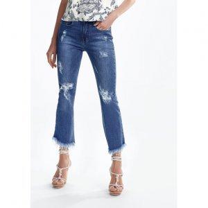 Calça Jeans Cropped Flare Com Destroyed
