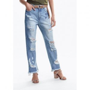 Calça Jeans Na Base Mom Com Destroyed