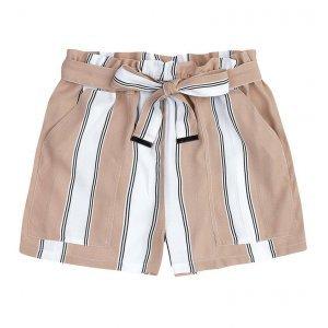 Shorts Listrado Em Tecido Crepe De Viscose Com Amarração