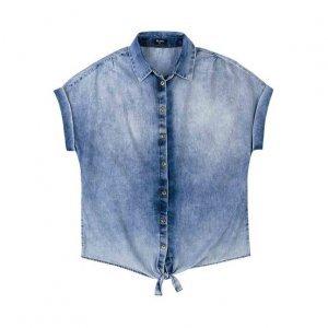 Camisa Jeans Feminina Em Algodão Com Lavação E Detalhe De Nó