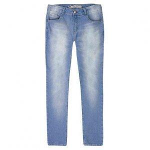Calça Jeans Cigarrete Feminina Em Algodão Com Lavação