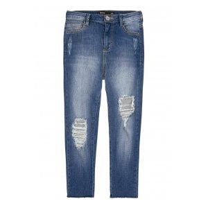 Calça Jeans Skinny Destroyed E Cintura Alta Por Bruna Unzueta
