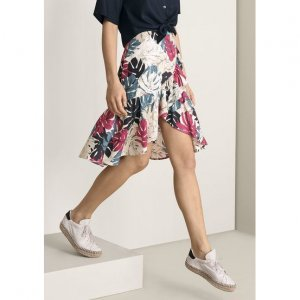 Midi Skirt In Viscose Fabric With Flap And Print