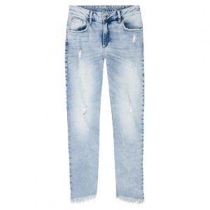 Calça Jeans Skinny Feminina Em Algodão Com Barra Assimétrica Desfiada