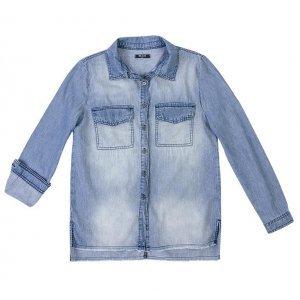 Camisa Jeans Feminina Em Algodão Com Lavação E Barra Desfiada