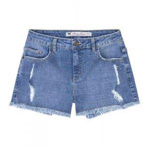 Shorts Jeans Feminino Em Algodão Com Barra Desfiada