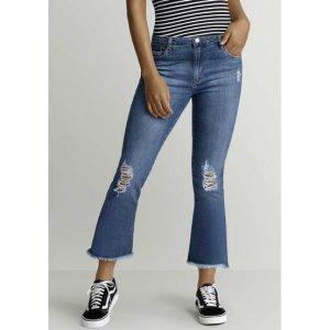 Calça Jeans Com Modelagem Cropped Flare Por Raíssa Santana