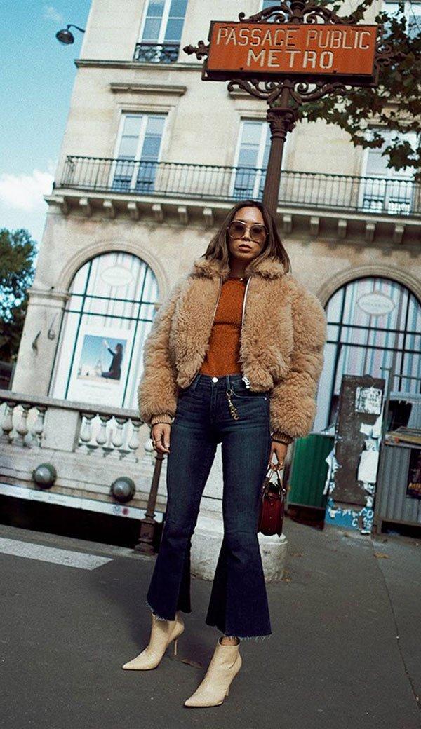 Aimee Song - blusa-calça-flare-cropped-casaco-pelo-bota - casaco-pelo - inverno - street style