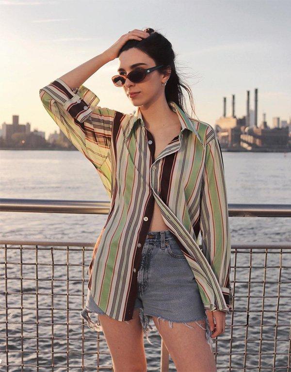 Frida Becker - camisa-listrada-shorts-jeans - camisa - verao - street style
