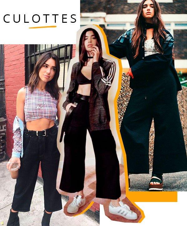 culottes - dua - lipa - calca - looks