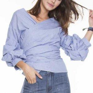 Camisa Mangas Bufantes E Laço Tamanho: P - Cor: Azul