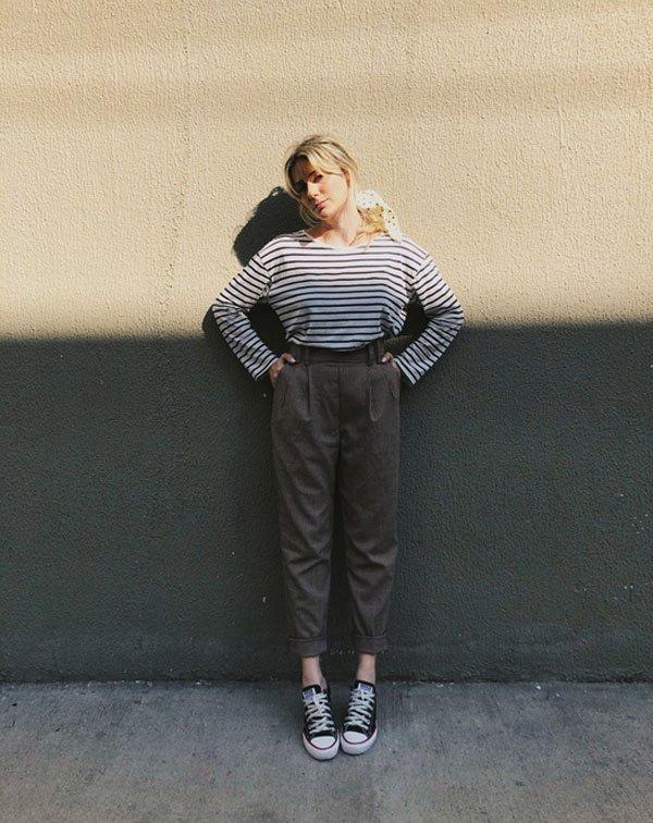 Karina Facci - blusa-listrada-calça-xadrez-all-star - all-star - meia estação - street style